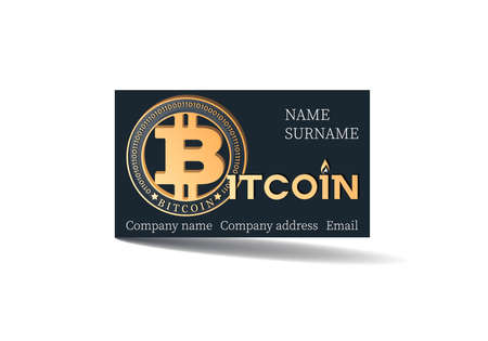 Bitcon. Payment card. Vector card template design with bitcoin on black background. Concept of using bitcoin as a means of payment. Contact card for company, legal entity. Vector illustration. Ilustrace