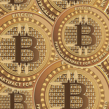 BITCOIN. Golden coins. Crypto currency. Vector background. Design for website, business project, information materials and textile. Seamless pattern. Vector illustration. Ilustrace
