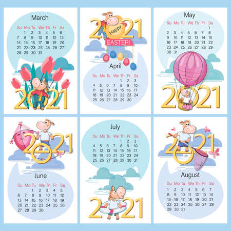 Spring Summer. 2021 calendar. Set. Funny calf on background of large numbers. Year of the Ox. Holidays and rest, cute calf entertainment. Week starts on Sunday. Vector illustration. Ilustrace