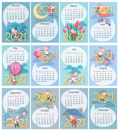 Calendar. Nice bull. 2021. Set. Funny calf on background of large numbers. Year of the Ox. Holidays and rest, cute calf entertainment. Week starts on Sunday. Vector illustration.