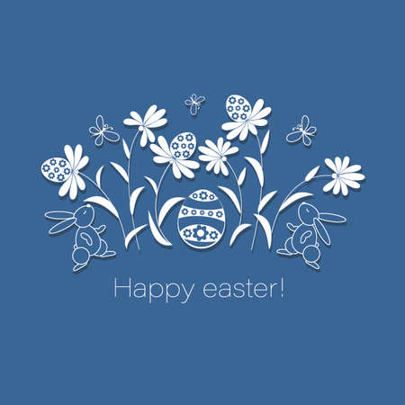 Happy easter. Easter bunnies, eggs in a flower meadow. Vector postcard, poster. Template design with rabbit and decorated eggs in flowers on blue background. Vector outline illustration.