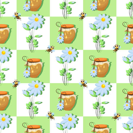 Honey products, bees. Vector checkered background. Honey, flowers and bee swarm on seamless pattern.