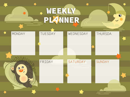 Young Month. Hedgehog. Childrens organizer with cute, funny characters for weekly planning and place for text. Week starts on Sunday. Vector illustration