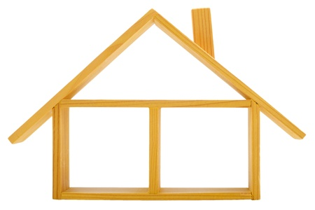 Front view of an isolated wooden house Stock Photo