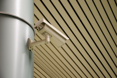 Video camera security system on a metal column