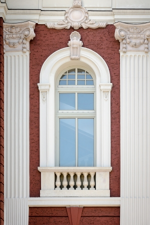 A vertical window with columns  Architectural detail of the National Theatre in Sofia, Bulgaria Stock Photo
