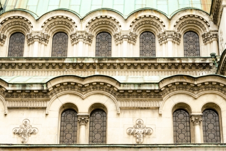 A series of small and large windows of the Alexander Nevsky Cathedral, Sofia, Bulgaria