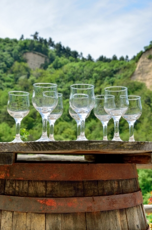wine testing: Glasses for wine testing on an old wine barrel