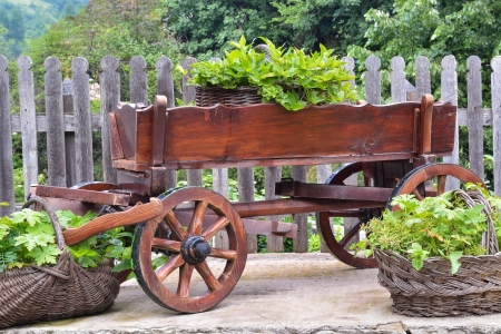 Wooden cart and wicker baskets in the back yard Stock Photo - 20863140