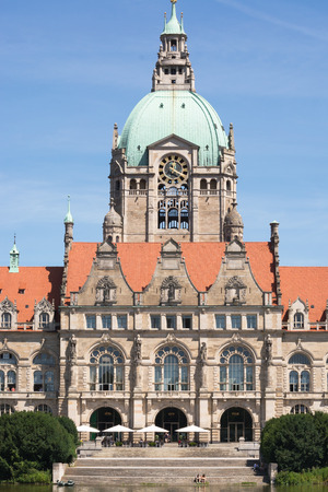 Landscape of the New Town Hall in Hanover, Germany photo