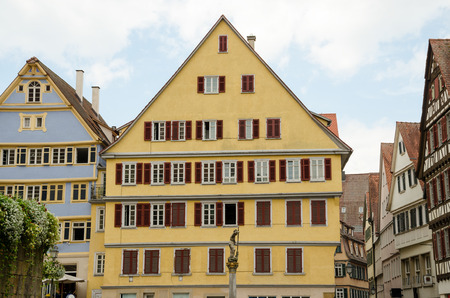 Street view of Tubingen old town  Tubingen is a traditional university town in central Baden-Wurttemberg, Germany  It is situated 30 km south of the state capital, Stuttgart, on a ridge between the Neckar and Ammer rivers   Stock Photo