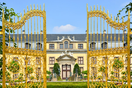 Golden gate in Herrenhausen Gardens, Hannover, Germany  Royal Gardens at Herrenhausen are one of the most distinguished baroque formal gardens of Europe