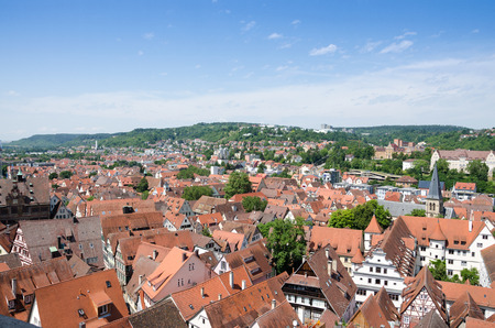 crowded space: Roofs in the old town of Tuebingen, Germany