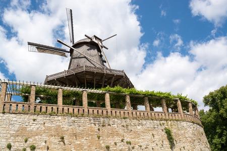 Old Windmill in Sanssouci Park, Potsdam, Germany, Europe Stock Photo