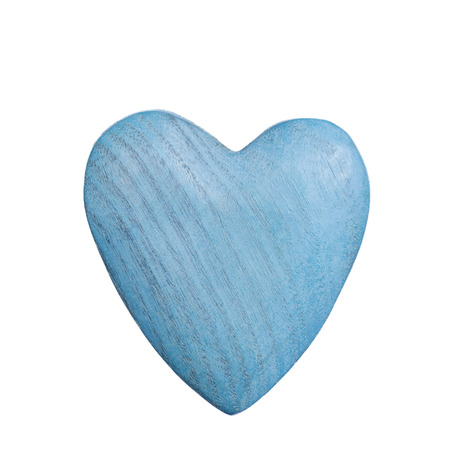 Blue wooden handmade heart on a white background Stock Photo
