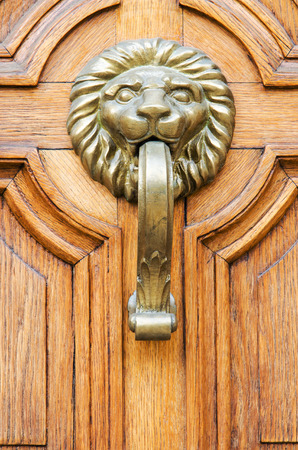 Door and handle in the old city, Sofia, Bulgaria photo