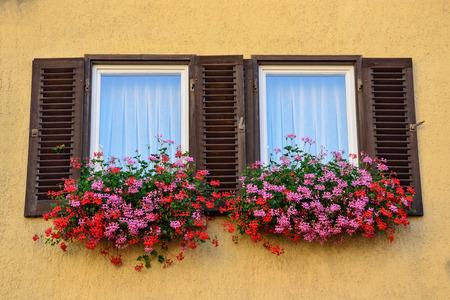 An old window with shutters in Tübingen, Germany photo