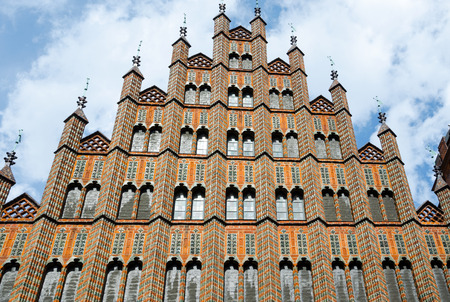 pinnacle: Pinnacle frontoni del Municipio della Citt� Vecchia, Hannover, Bassa Sassonia, Germania, Europa