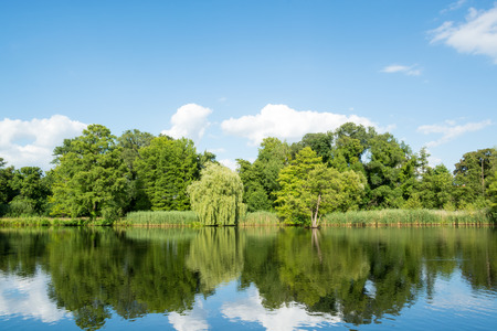 Landscape with trees, reflecting in the water, Potsdam, Germany Stock Photo