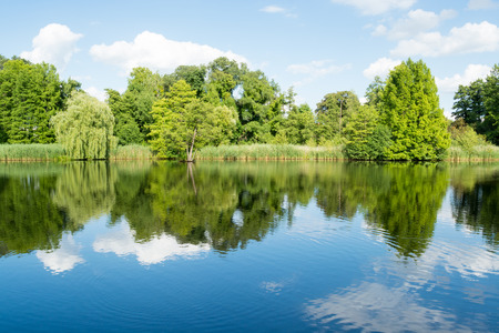 Landscape with trees, reflecting in the water, Potsdam, Germany photo