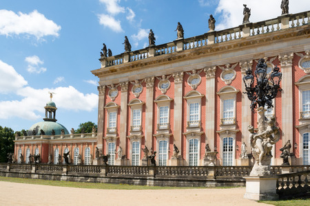 The New Palace is a palace situated in Sanssouci Royal Park in Potsdam, Germany. The building was begun in 1763 under Frederick the Great and was completed in 1769. Editorial