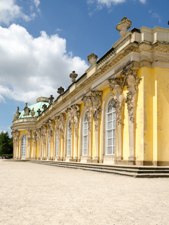 Sanssouci is the name of the former summer palace of Frederick the Great, King of Prussia, in Potsdam, near Berlin. The palace is considered the major work of Rococo architecture in Germany.