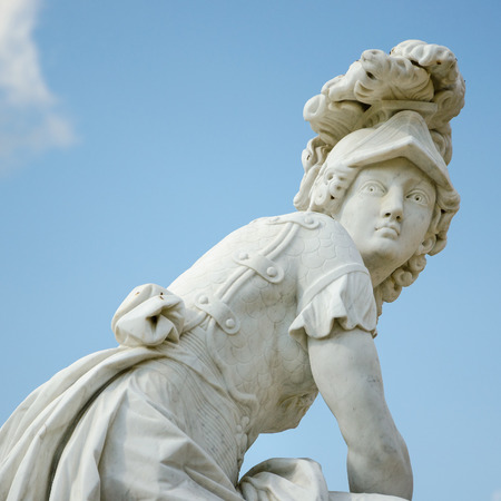 A marble statue, from around 1750, located at Sanssouci summer palace of Frederick the Great, King of Prussia, in Potsdam, near Berlin.