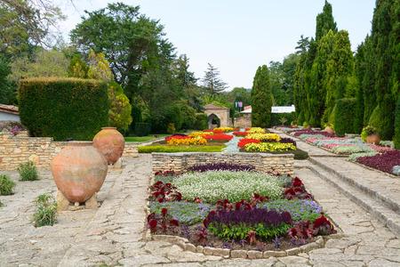 Flowers and pots in the botanical gardens, Balchik town, Bulgaria, Europe. photo