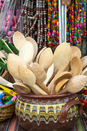 Wooden spoons and spatula kitchen utensils, Plovdiv, Bulgaria photo