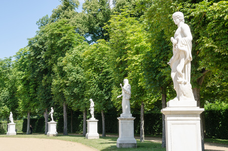White sandstone statues in a park, Potsdam, Brandenburg, Germany
