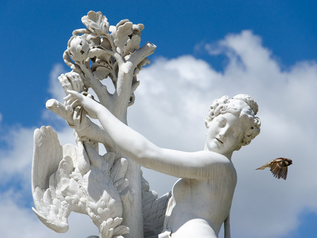 Baroque antique female statue and flying bird in park on a blue sky, Potsdam, Brandenburg, Germany