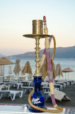 Hookah on the background of beach in Marmaris, Turkey