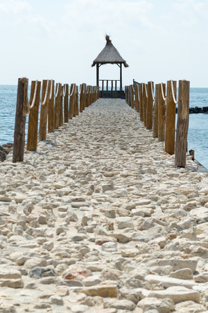 Nice pierjetty of Black sea coast, Bulgaria. Sunny weather on the background.