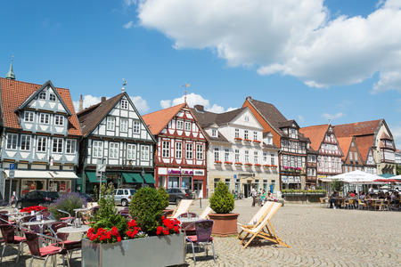 Main square with historical half-timbered houses in the old city of Celle, Germany