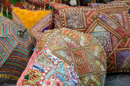 Colorful pillows at an Arab bazaar, Dubai