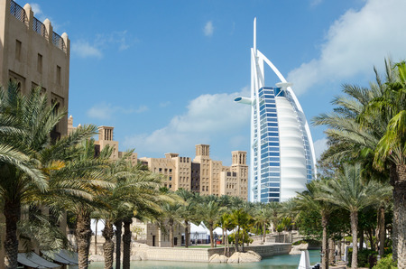View of Burj Al Arab hotel from Medinat Juimerah, Dubai Editorial