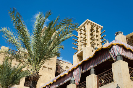 bastakiya: Wind tower, Arabian architecture, Bastakiya, Dubai, UAE. Wind towers are used in the United Arab Emirates to cool their buildings.