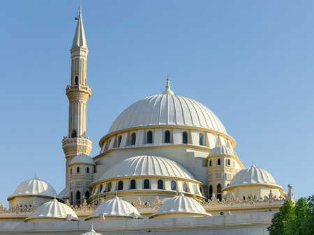 Domes and minarets of a mosque, Dubai United Arab Emirates