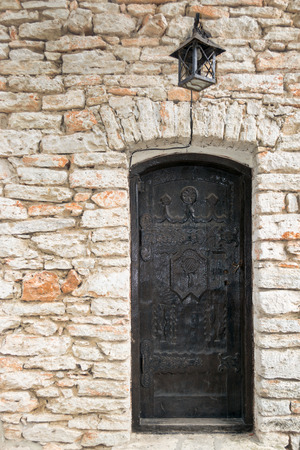 balchik: Classic wooden door on stonewall, Balchik, Bulgaria