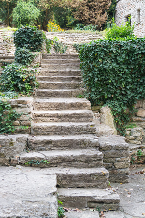 Old stone staircase in the garden, Balchik, Bulgaria