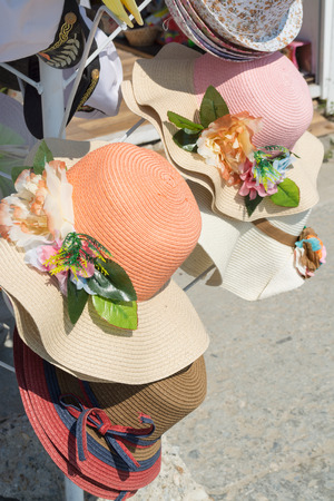 Hats stall in street market in a sunny summer day, Varna, Bulgaria Stock Photo