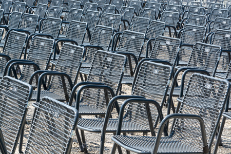 Many chairs at the outdoor theater of Herrenhausen Gardens, Hanover, Lower Saxony, Germany
