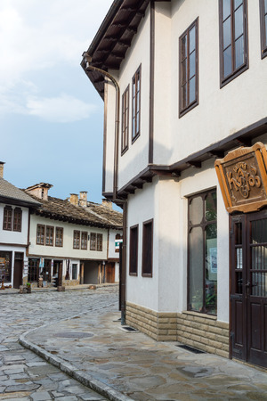 Street view of typical old Bulgarian architecture, Tryavna, Bulgaria