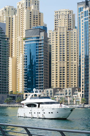 The Dubai Marina and a luxury yacht, UAE