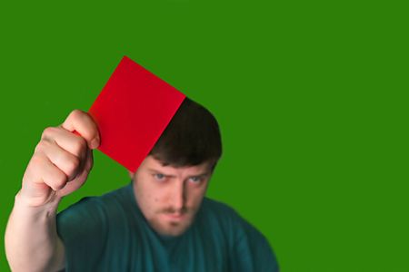 equitable: An image of a man showing a red card