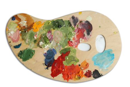 master volume: An image with palette with oil paints