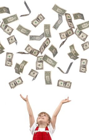 A girl catching falling dollars