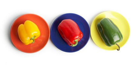 variance: An image of color vegetables on a saucers