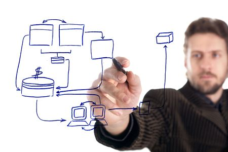 Una imagen de hombre de negocios dibujo de un plan de negocio  Foto de archivo - 3197017