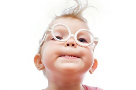 An image of a -girl in toy-glasses Stock Photo